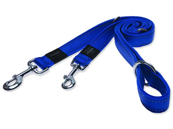 Vodítko pro psa přepínací nylonové reflexní - Rogz Utility - modré - 1,6 x 160 cm