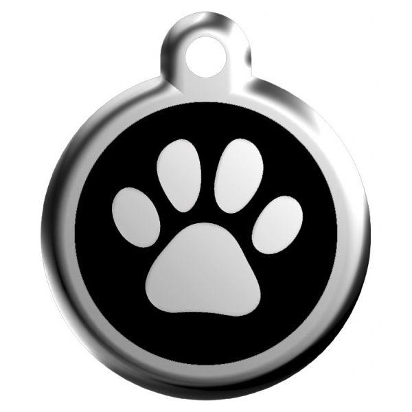 Red Dingo Známka černá tlapka - L, 37 mm