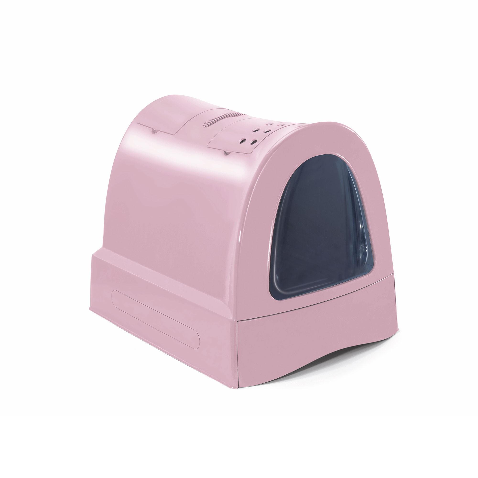Krytý kočičí záchod s výsuvnou zásuvkou pro stelivo Argi - růžový - 40x56x42,5 cm