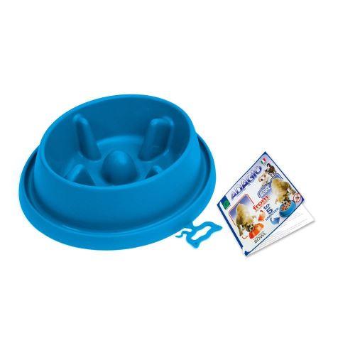 Plastová miska proti hltání s protiskluzem Argi - tmavě modrá - 25,5 x 23 x 6,5 cm