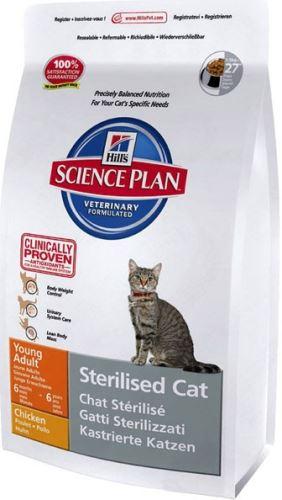 Hill's Feline Dry Adult Young Sterilized Chicken - kuřecí pro kastrované kočky
