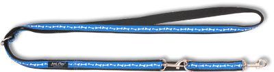 Vodítko pro psa přepínací nylonové - modré se vzorem kost - 2 x 100 - 200 cm