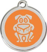 Red Dingo Známka oranžová vzor pes - velikost L, 37 mm