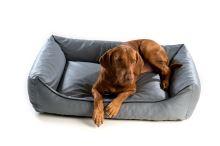 Pelech pro psa Argi obdélníkový - snímatelný potah z eko kůže - šedý - 90 x 70 cm