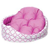 Pelíšek DOG FANTASY ovál s polštářem ornament růžový 84 cm