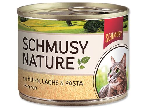 Schmusy Nature Menu konzerva - kuře & losos 190 g