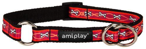Obojek pro psa polostahovací nylonový - červený se vzorem kost - 2 x 35 - 50 cm