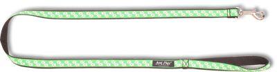 Vodítko pro psa nylonové - zelené se vzorem tlapka - 2,5 x 150 cm