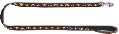 Vodítko pro psa nylonové - černé se vzorem květina - 2,5 x 150 cm