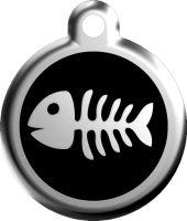 Red Dingo Známka černá vzor rybí kostra - velikost S, 20 mm
