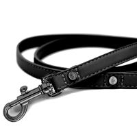 Vodítko pro psa kožené se zdobením Milk&Pepper - černé - 1,5 x 120 cm