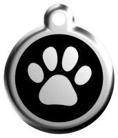 Red Dingo Známka černá vzor tlapka - velikost S, 20 mm