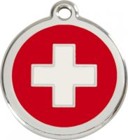 Red Dingo Známka červená vzor švýcarský kříž - velikost M, 30 mm