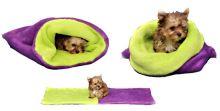Marie Brožková Marysa Spací pytel 3v1 XL pro psy a kočky fialový se světle zelenou