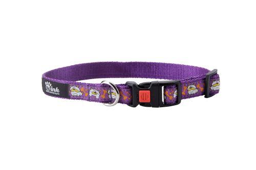 Obojek pro psa nylonový - bezpečnostní - fialový se vzorem pes - 2,5 x 45 - 70 cm