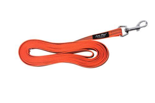 Vodítko pro psa výcvikové s vetkanou gumovou nítí - oranžové - 1,6 x 1000 cm