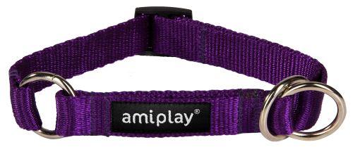 Obojek pro psa polostahovací nylonový - fialový - 1,5 x 25 - 40 cm
