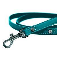 Vodítko pro psa kožené se zdobením Milk&Pepper - modro zelené - 2 x 100 cm
