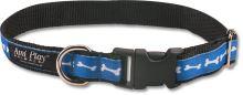 Obojek pro psa nylonový - modrý se vzorem kost - 2,5 x 34 - 55 cm