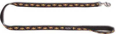Vodítko pro psa nylonové - černé se vzorem květina - 2 x 150 cm