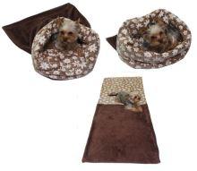 Marysa pelíšek 3v1 pro psy, šedý/červená kolečka, velikost XL