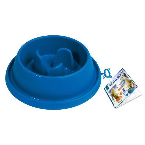 Plastová miska proti hltání s protiskluzem Argi - modrá - 31,5 x 9 cm