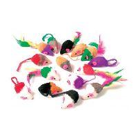 Myš pro kočky s peříčky Argi 5 cm - mix barev