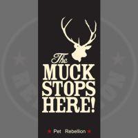 PET REBELLION Běhoun Muck stop here!, černý 45x100cm