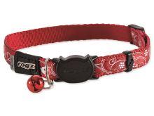 Rogz SilkyCat Red Filigree Obojek s rolničkou nylonový pro kočky - velikost S, 1,1x20-31 cm