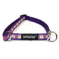 Obojek pro psa polostahovací nylonový - fialový se vzorem pes - 1,5 x 25 - 40 cm