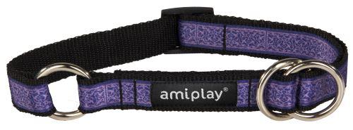 Obojek pro psa polostahovací nylonový - fialový se vzorem - 2 x 26 - 48 cm