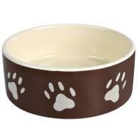 Trixie keramická miska pro psy s béž.tlapkami hnědá 800 ml - 16 cm