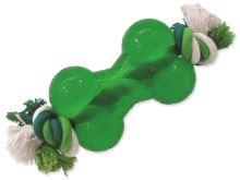 Dog Fantasy Strong Mint kost guma s provazem 13,9 cm