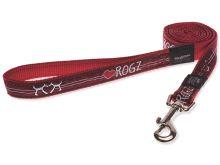 Vodítko pro psa nylonové - Rogz Fancy Dress Red Heart - červené - 2 x 180 cm