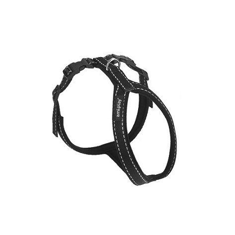 Postroj pro psa nylonový reflexní - černý - 1,5 x 34 x 49 - 59 cm