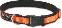 Obojek pro psa nylonový - oranžový se vzorem pes - 1,5 x 25 - 40 cm