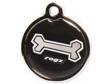 Známka ROGZ Metal Black Bone kovová S