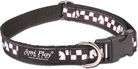 Obojek pro psa nylonový - černý se vzorem šachovnice - 2,5 x 34 - 55 cm