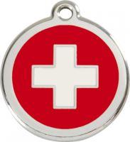 Red Dingo Známka červená vzor švýcarský kříž - velikost L, 37 mm