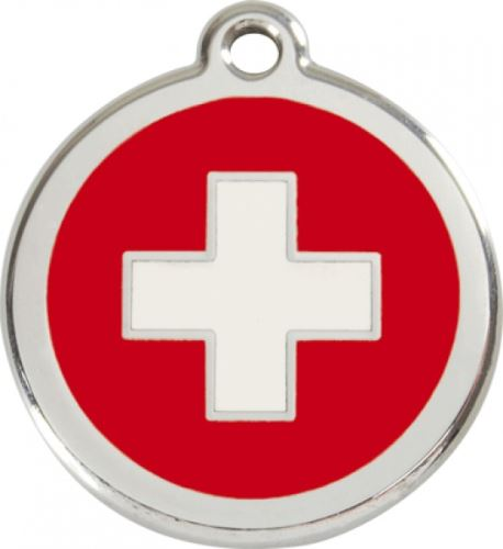 Red Dingo Známka červená vzor švýcarský kříž