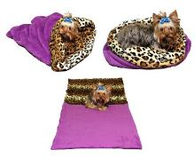 Marie Brožková Marysa Spací pytel 3v1 XL pro psy a kočky fialový vzor leopard