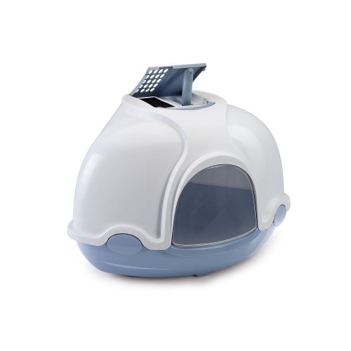 Krytý kočičí záchod rohový s filtrem Argi - modrý - 52x52x44,5 cm
