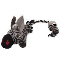 Hračka DOG FANTASY textilní zebra s provazem