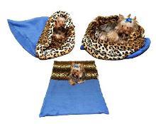 Marie Brožková Marysa Spací pytel 3v1 XL pro psy a kočky modrý vzor leopard