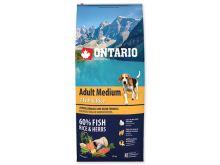 ONTARIO Dog Adult Medium Fish & Rice 12 kg