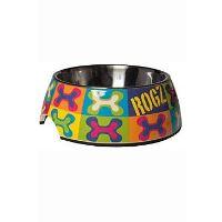 Rogz Bowlz Bubble - Miska pro psy nerezová a plastová vzor Pop Art, 700 ml