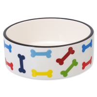 Miska DOG FANTASY keramická potisk barevné kosti bílá 15,5 cm 0,79l