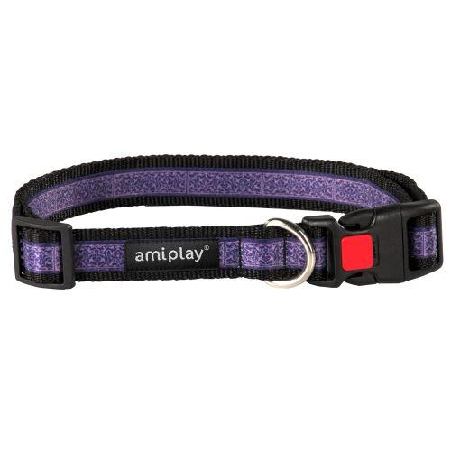 Obojek pro psa nylonový - bezpečnostní - fialový se vzorem - 2,5 x 53 - 85 cm