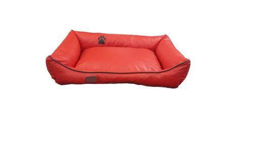 Pelech pro psa Argi obdélníkový - snímatelný potah z eko kůže - červený - 90 x 70 cm
