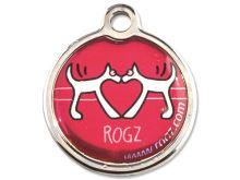 Rogz Red Heart Kovová známka pro psy - velikost S, průměr 20 mm